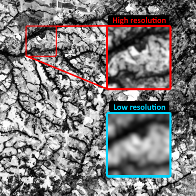 Comparison between high (100m) and low (300m) resolution of PROBA-V data