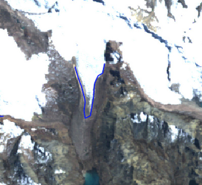 The 1988 glacier outline superimposed on the 2010 image