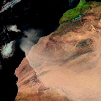 A dust storm moving across Africa's western Sahel belt on 3 March 2004, as seen by MSG-1, now renamed Meteosat-8. Dust storms are being mapped as part of the ESA-led Epidemio project.