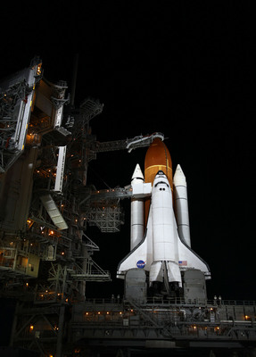 Endeavour illuminated by bright xenon lights