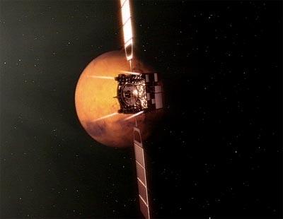 Vue d'artiste de la manoeuvre réalisée ce matin par Mars Express (ESA)