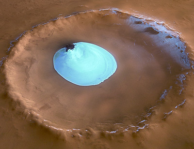 photo of ice in crater on Mars