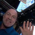 André Kuipers waves from the Space Station