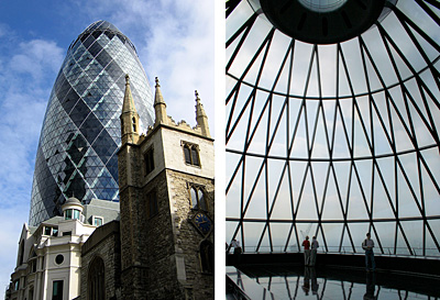 Gherkin building glass dome, London