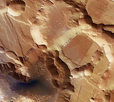 Noctis Labyrinthus photographiée par la sonde Mars Express