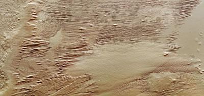 Région fortement érodée par le vent sur Mars