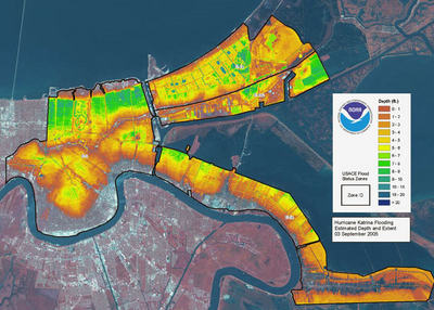 LIDAR map of New Orleans flooding caused by Hurricane Katrina