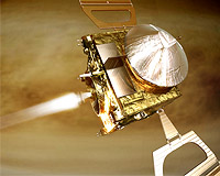 Artist's impression of the Venus Express orbit insertion on 11 April 2006. In this phase of the mission, the most challenging since launch, the spacecraft's main engine burns for about 50 minutes, to reduce its speed with respect to Venus to allow the the spacecraft to be captured by the planet's gravitation.