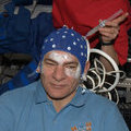 Paolo Nespoli gets gel injections on the scalp for Neurospat
