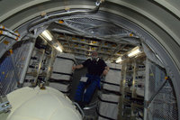 ESA astronaut André Kuipers inside ATV-3