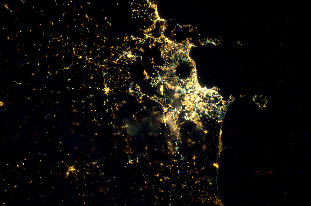 Naples and Melbourne at night