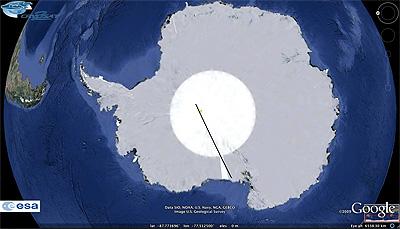 CryoSat-2  track across Antarctica