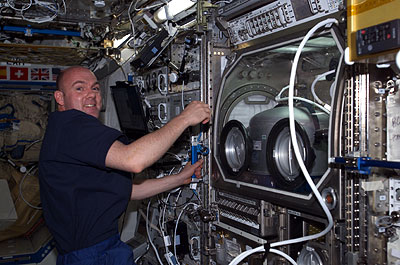 André Kuipers durant l'expérience ARGES (crédit : ESA)
