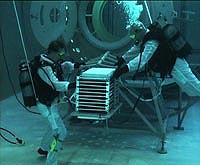 Astronauts during training