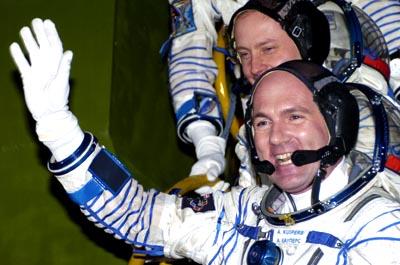 L'astronaute européen André Kuipers avant le lancement (crédit : ESA - S. Corvaia 2004)