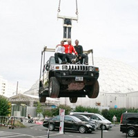 Hummer hanging in high-tech jeans