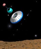 Vue d'artiste du module de descente Exomars,Credits: ESA