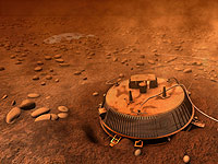 An artist's interpretation of the area surrounding the Huygens landing site based on images and data returned on 14 January 2005.