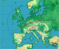 Ground track of ISS pass over Europe on 16 June 2006. The red line shows the path of the Station. The thick red line shows when the Station will be visible to the observer. The visible pass starts at 01:09 CEST and ends at 01:22 CEST.