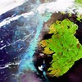 A large aquamarine-coloured plankton bloom is shown stretching across the length of Ireland in the North Atlantic Ocean in this image, captured on 6 June 2006 by Envisat's Medium Resolution Imaging Spectrometer (MERIS), a dedicated ocean colour sensor able to identify phytoplankton concentrations.