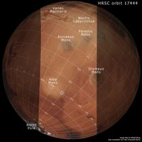 Location map of the Tharsis region on Mars