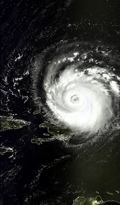 MERIS Image Showing Hurricane Frances Acquired On 1 September 2004 The Is Shown Passing Near Haiti And Dominician Republic With Cuba To