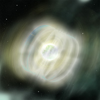 Magnetars are neutron stars with extremely powerful magnetic fields. They are extremely dense objects (the size of mountains but weighing as much as the sun), with magnetic fields hundreds of trillions of times more powerful than the Earth's. The decay of these powerful magnetic fields powers the emission of very energetic radiation, usually in the form of X-rays or Gamma Rays