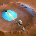Mars Express over water-ice crater
