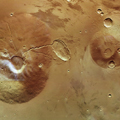 Neighbouring volcanoes on Mars