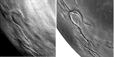 Comparazione di unimmagine infrarossa della superficie di Venere a 1.02 μm scattata il 5 giugno 2007 dalla Venus Express (a sinistra), con unimmagine radar della stessa zona ripresa nel 1990 dalla sonda Magellano (a destra). Credits: ESA/VIRTIS/INAF-IASF/Obs. de Paris-LESIA e NASA Fonte:http://www.esa.int/esa-mmg/mmg.pl?b=b&type=I&mission=Venus%20Express&single=y&start=39&size=b