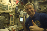 ESA astronaut Thomas Reiter exercizing the PDA in ISS