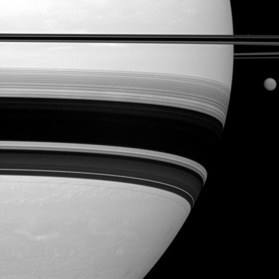 Saturn and Titan, side by side
