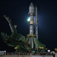 GIOVE-A atop the Soyuz launcher on pad six at Baikonur Cosmodrome