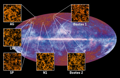 first six fields used to detect Cosmic Infrared