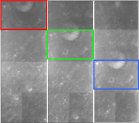 The AMIE camera on board SMART-1 has three fixed-mounted filters which see the Moon in different colour bands. The figure shows four consecutive images taken by AMIE from left to right. The fixed filters are indicated by coloured frames. The images, taken only a few seconds apart, show how the surface is moving through the different filters.