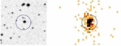 Imagen óptica y de rayos X de V598 Puppis.