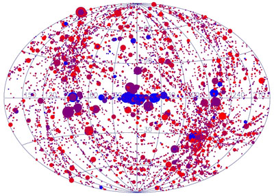 Todas las fuentes de rayos X descubiertas por XMN-Newton.