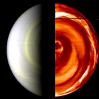 Imágenes compuestas en colores falsos del Polo Sur de Venus, tomadas durante el día a la izquierda y de noche a la derecha. Crédito Venus Express/ESA.
