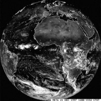 Meteosat image in channel 1, 21 December 1997 at 12 GMT