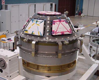 La coupole de l'ISS, ici photographiée avec toutes ses fenêtres intégrées. Son intégration à la station est prévue pour 2009.