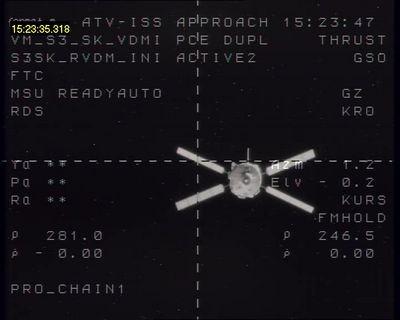 Jules Verne ATV seen 246.m metres from the Russian module