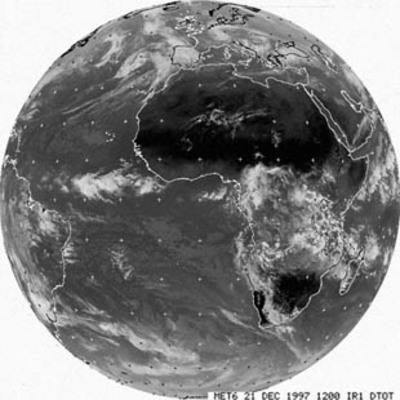 Meteosat image in the thermal infrared channel, 21 December 1997