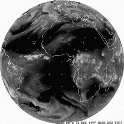 Meteosat image in the water vapour channel (2), 21 December 1997
