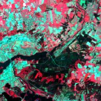 False colour composite image of area in Jutland, Denmark