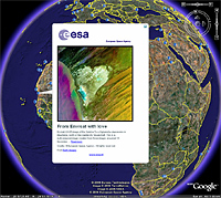 The European Space Agency (ESA) has created a special layer of content, enabling people to see ESA satellite images from Google Earth. The images can be accessed easily by clicking on the 'Featured Content' checkbox in the Google Earth sidebar and further clicking on the ESA icon.