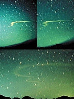 Different views of a Leonid fireball in 1966 in 17 November 1966
