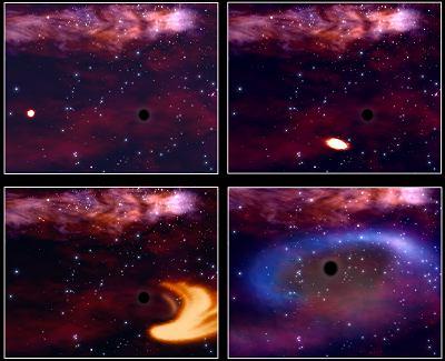 Impression d'artiste illustrant la rencontre d'un trou noir et d'une étoile, crédits: ESA