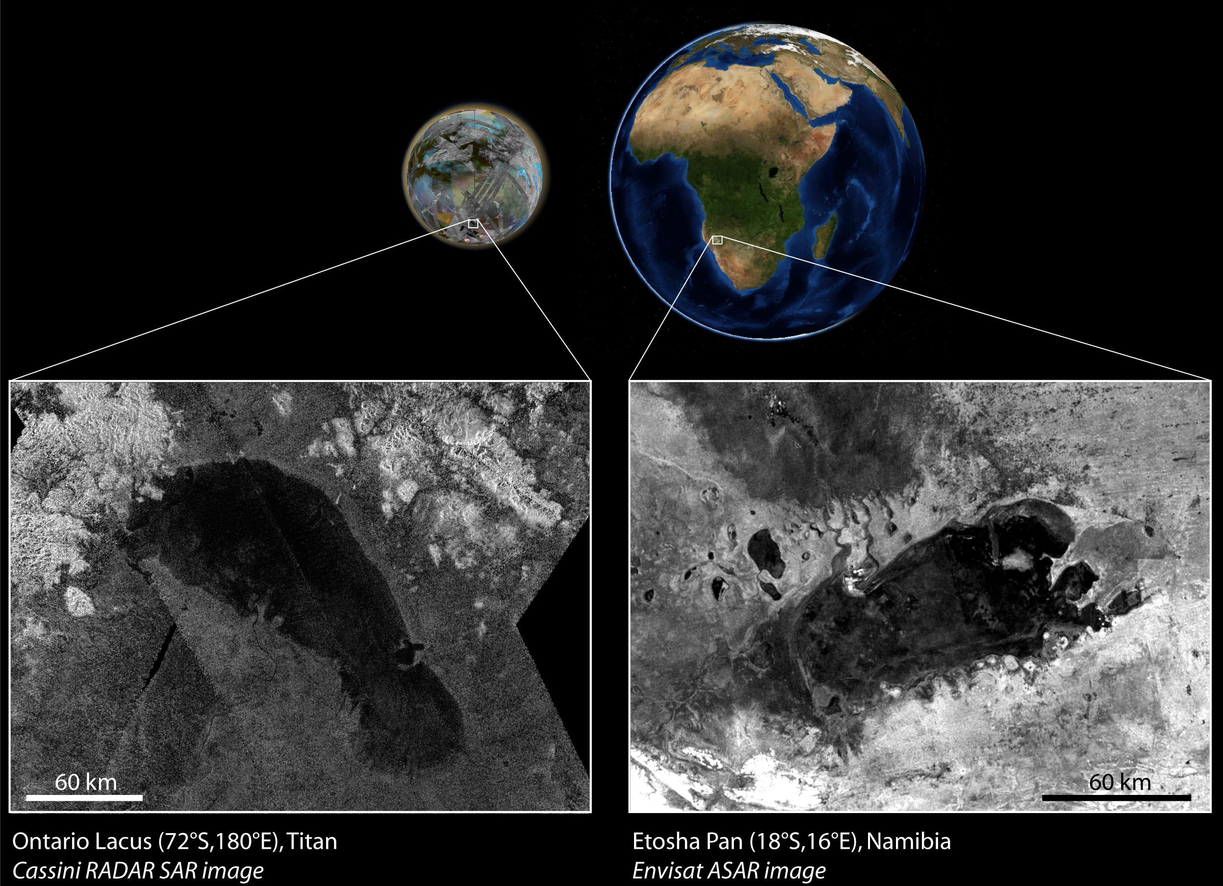 Der See auf Titan (l.) und der Etosha in Afrika im Vergleich. Abb.: NASA