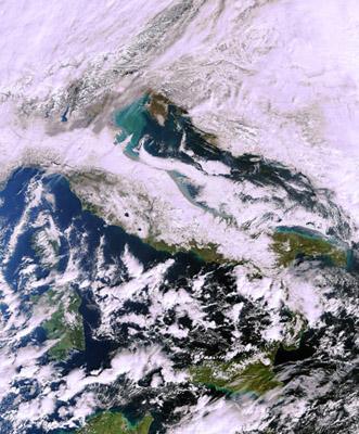 Snow-bound Italy