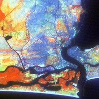 False-colour image of Lagos city
